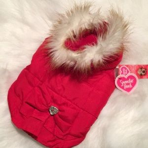 Red Puffer Dog Vest Size Small